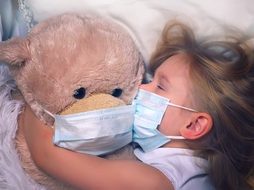 Kid Sleeping with Mask Due to ASthma