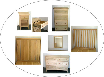 Wood bedroom furniture, dressers, bedframes, headboard, nightstand