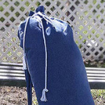 Twin mattress topper made to Travel in Denim Carry Bag